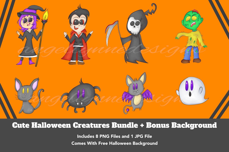Cute Halloween Creatures Bundle example image 1