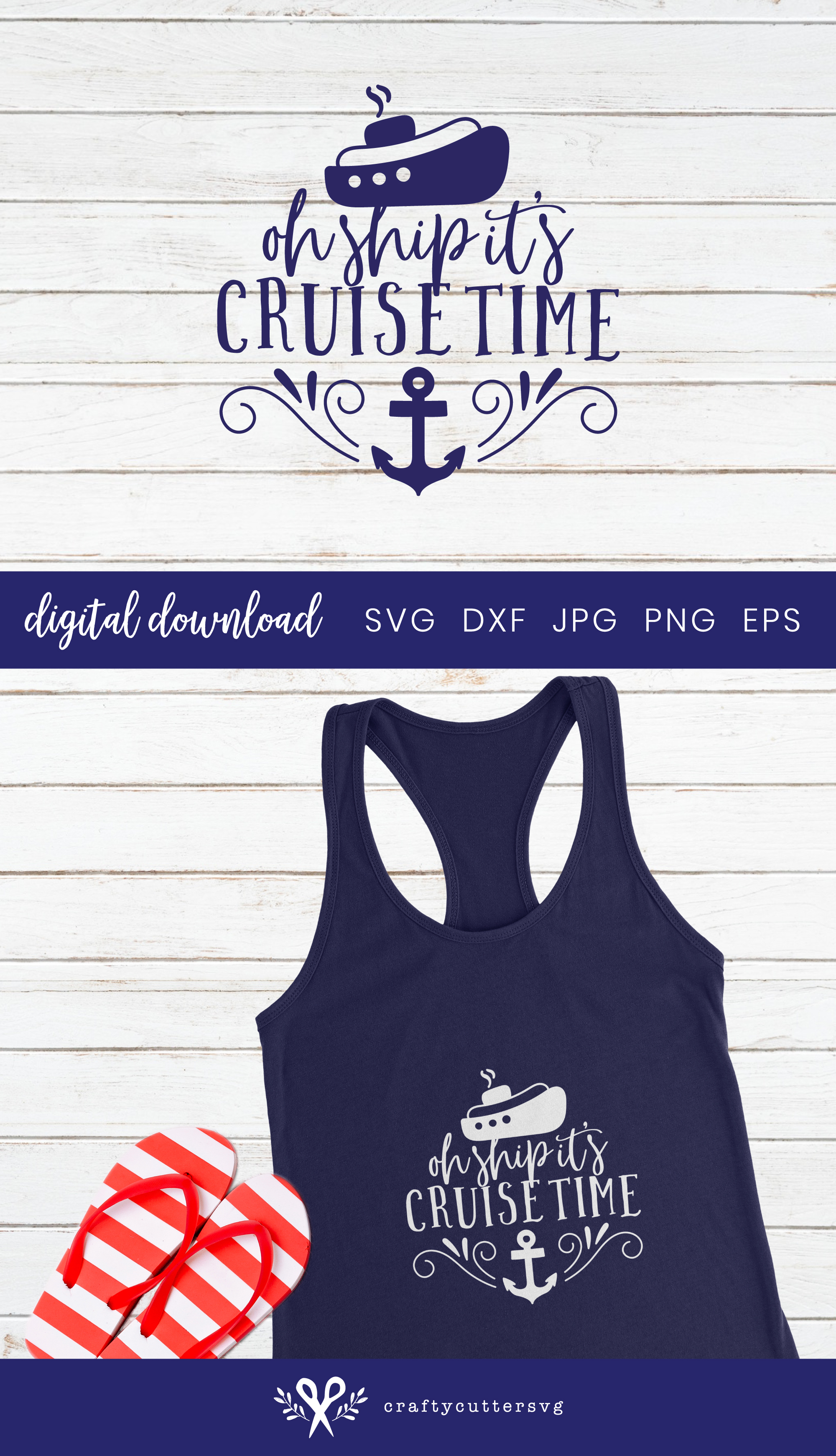 Oh ship it's cruise time Svg Cut File Ship Anchor Clipart example image 3