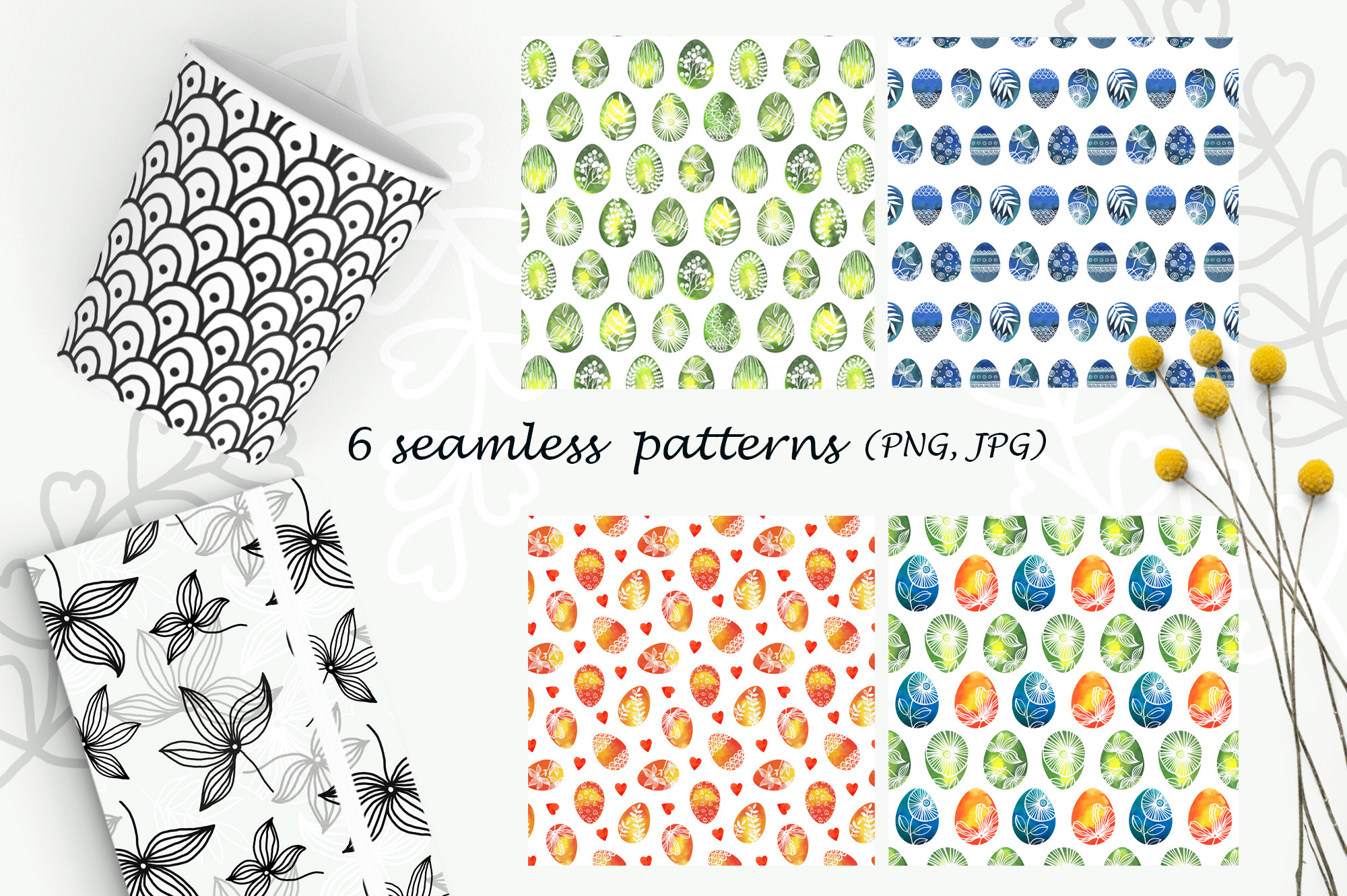 Watercolor Easter eggs, patterns example image 4