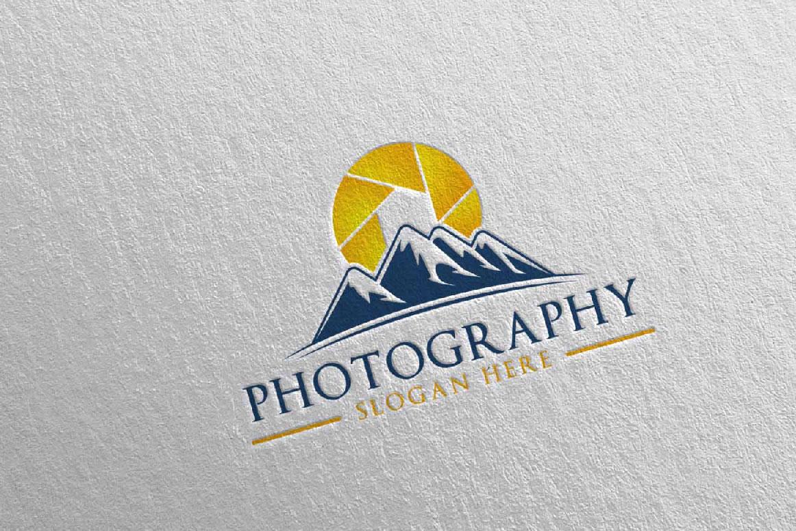 Abstract Mountain Camera Photography Logo 12 example image 5