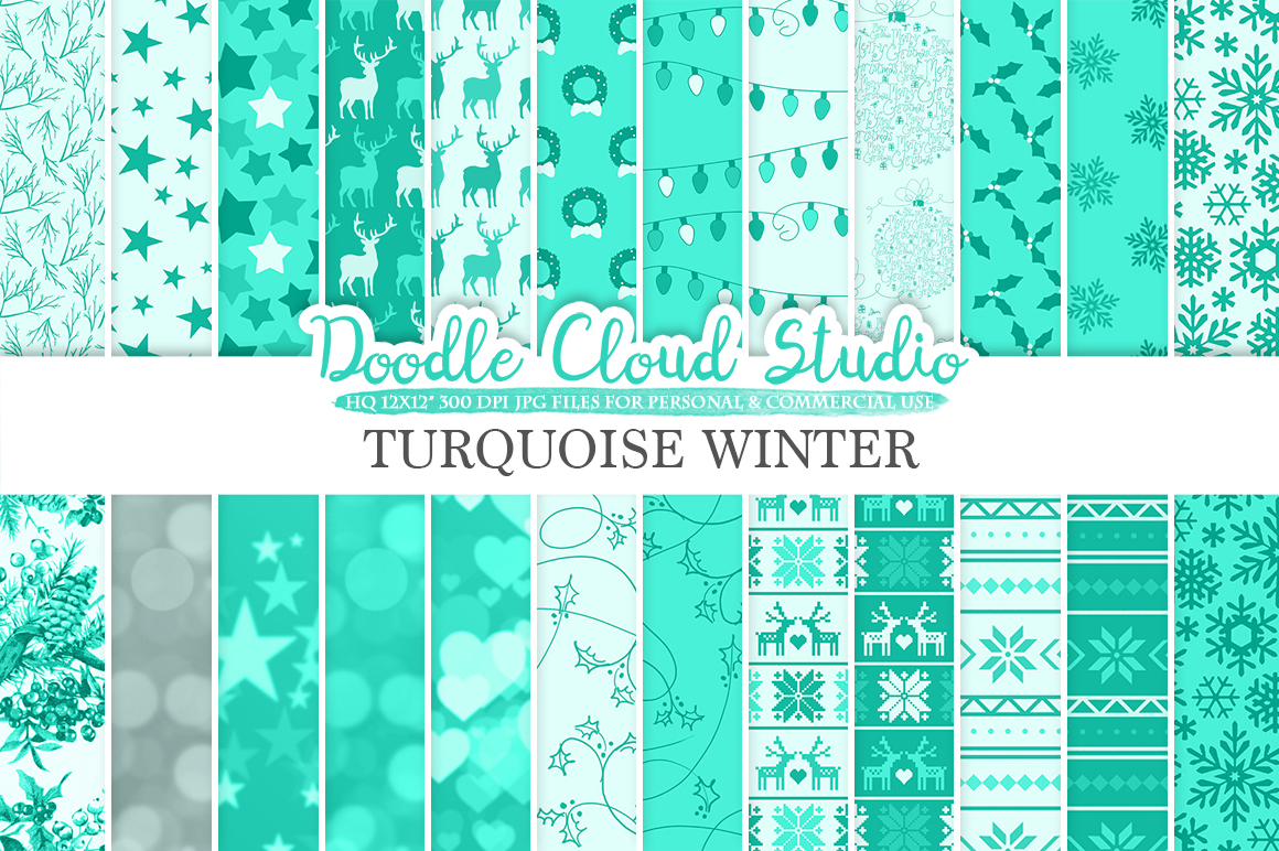 Turquoise Winter digital paper, Christmas Holiday Aqua patterns, Stars Snow deers Xmas background Instant Download Personal & Commercial Use example image 1