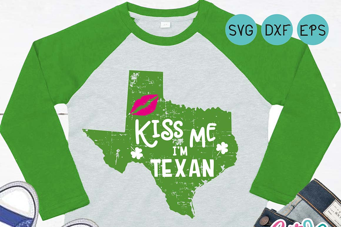 Kiss me Im texan st. patricks day svg for crafter example image 2