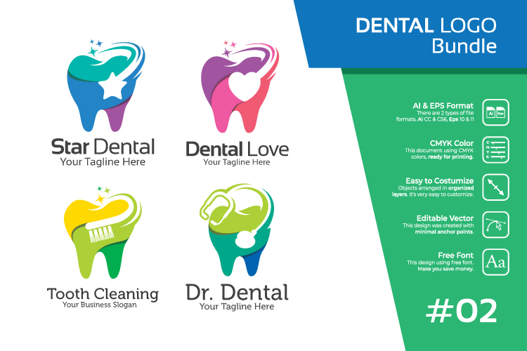 Set bundle logo - Dental and dentist bundle logo #2 example image 1