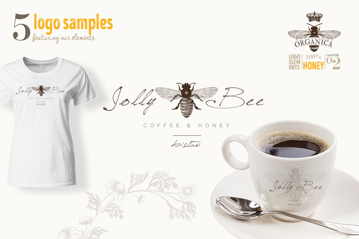 ORGANIC LOGO ELEMENTS  HONEY example image 11