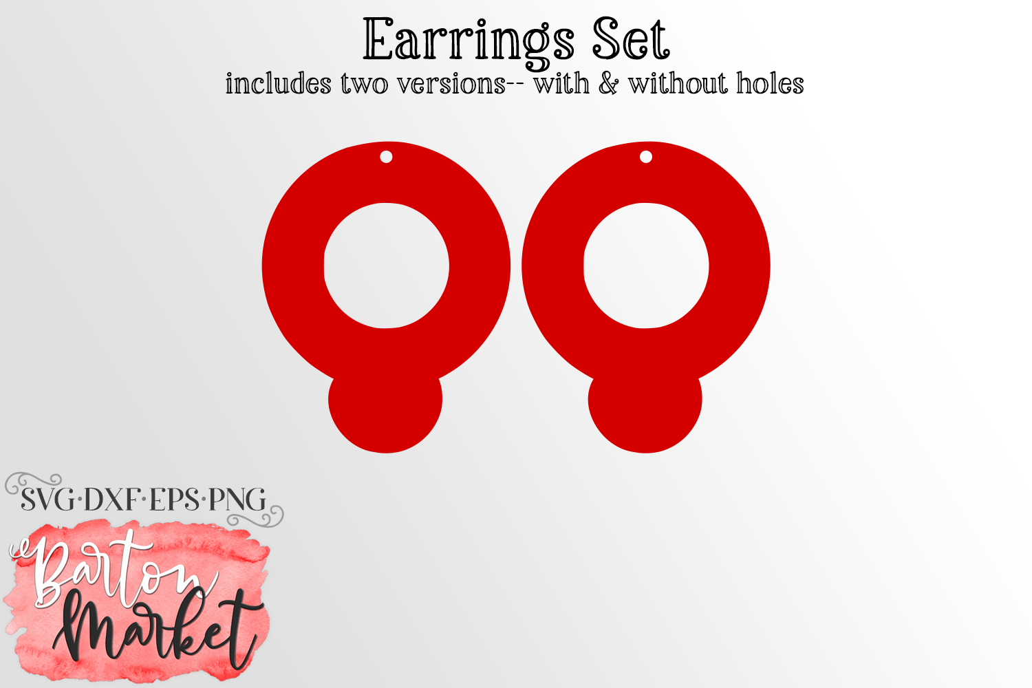 Earrings Set Circles With Moon SVG DXF EPS PNG example image 1
