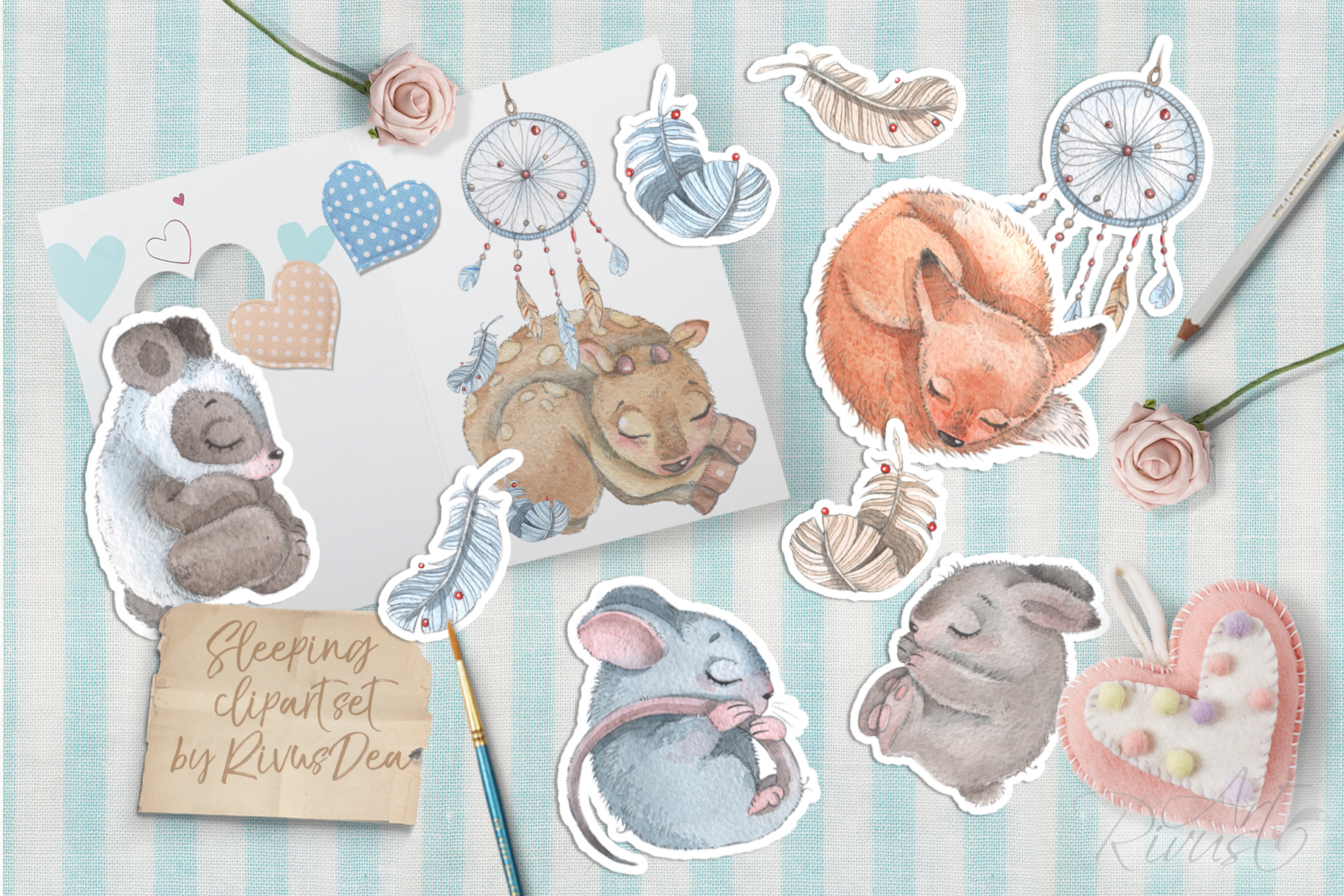 Cute sleeping baby animals watercolor clipart kit example image 3