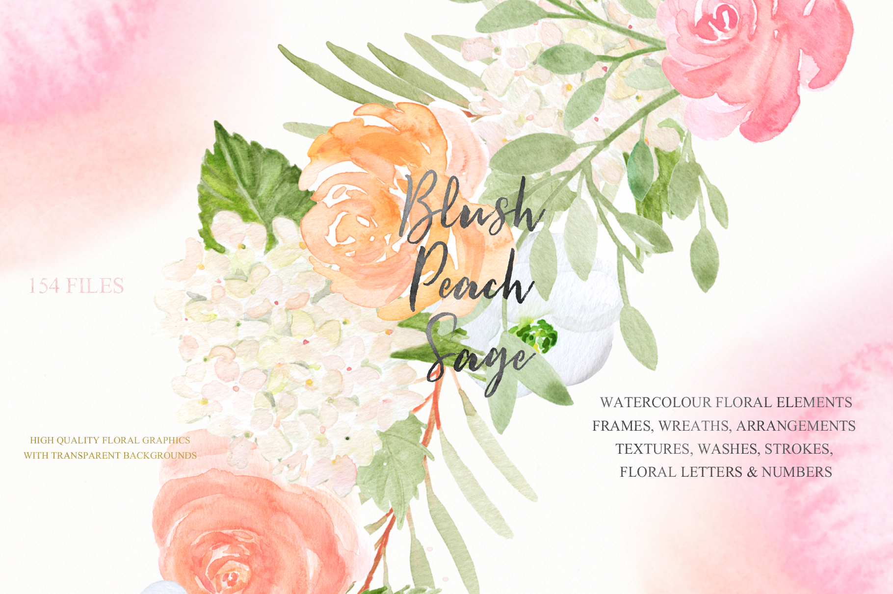 Blush Peach Sage Watercolor flowers clipart example image 7