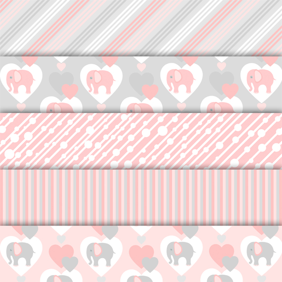 Digital paper pack Elephant Pink example image 3