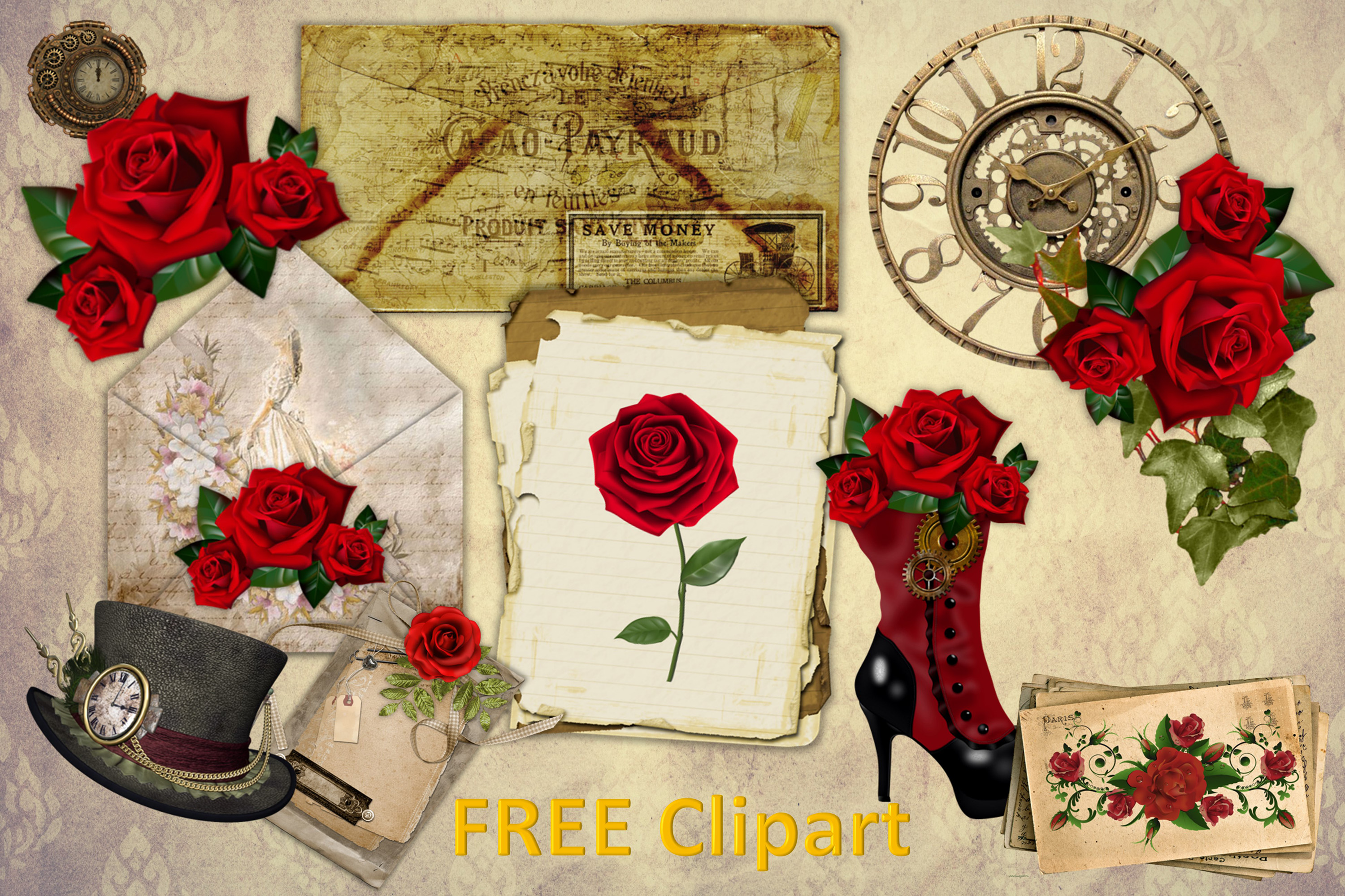 Steampunk Background set with FREE Clipart and Ephemera example image 2
