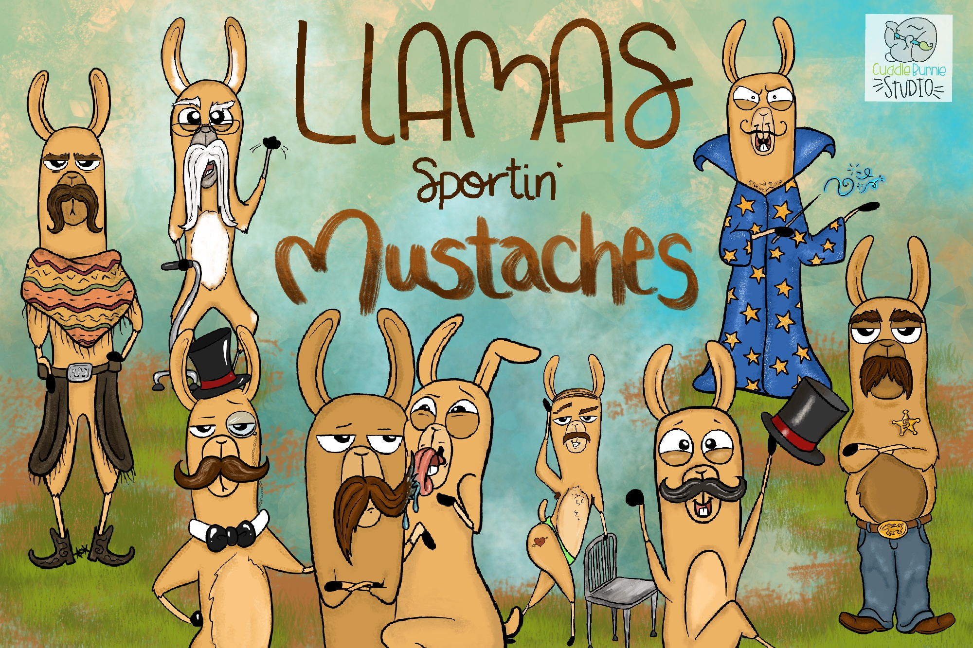 Llamas with Mustaches | Funny llamas | Mustache Clipart example image 1