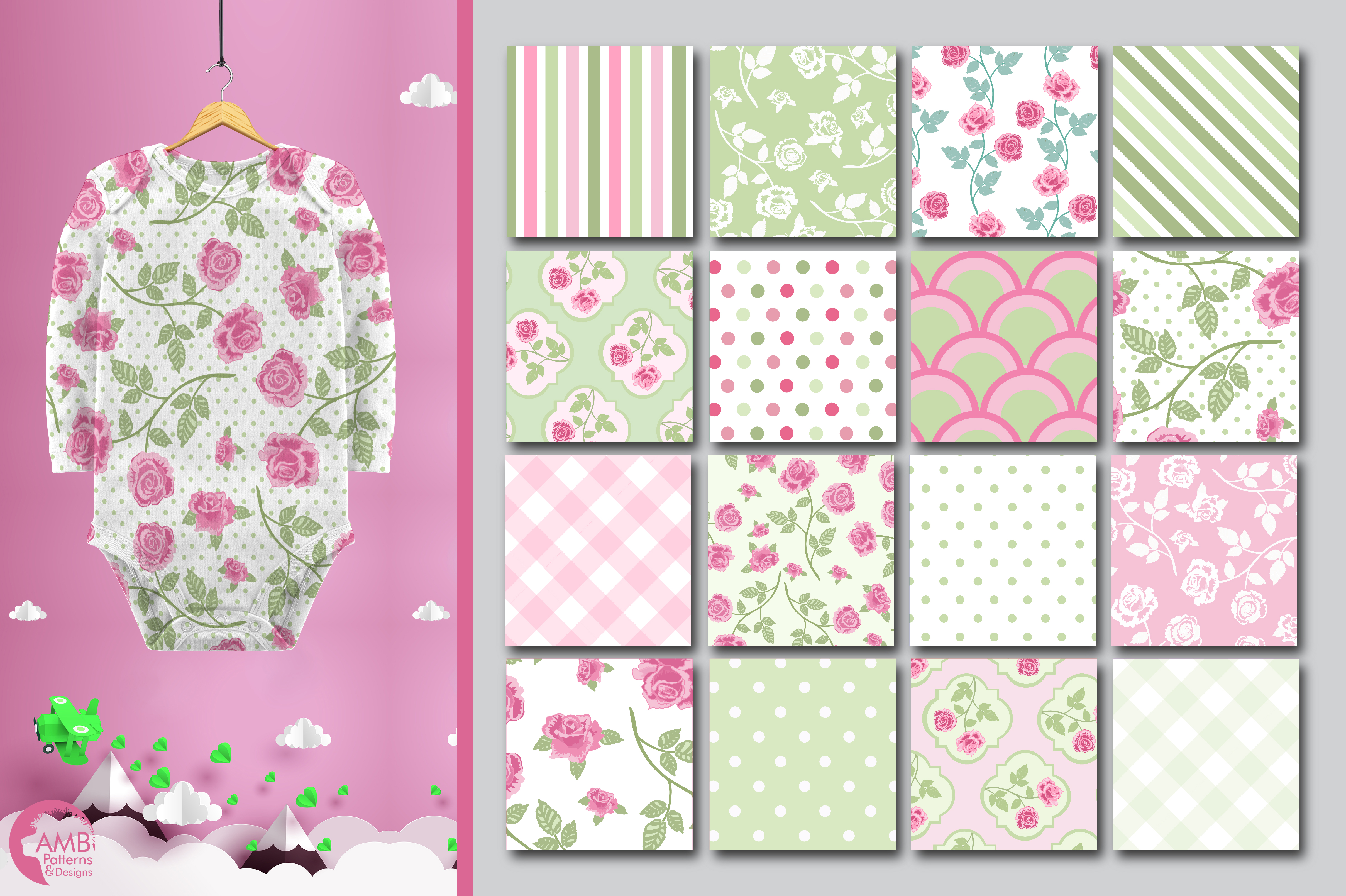 Pastel roses, floral patterns, paper AMB-1272 example image 2