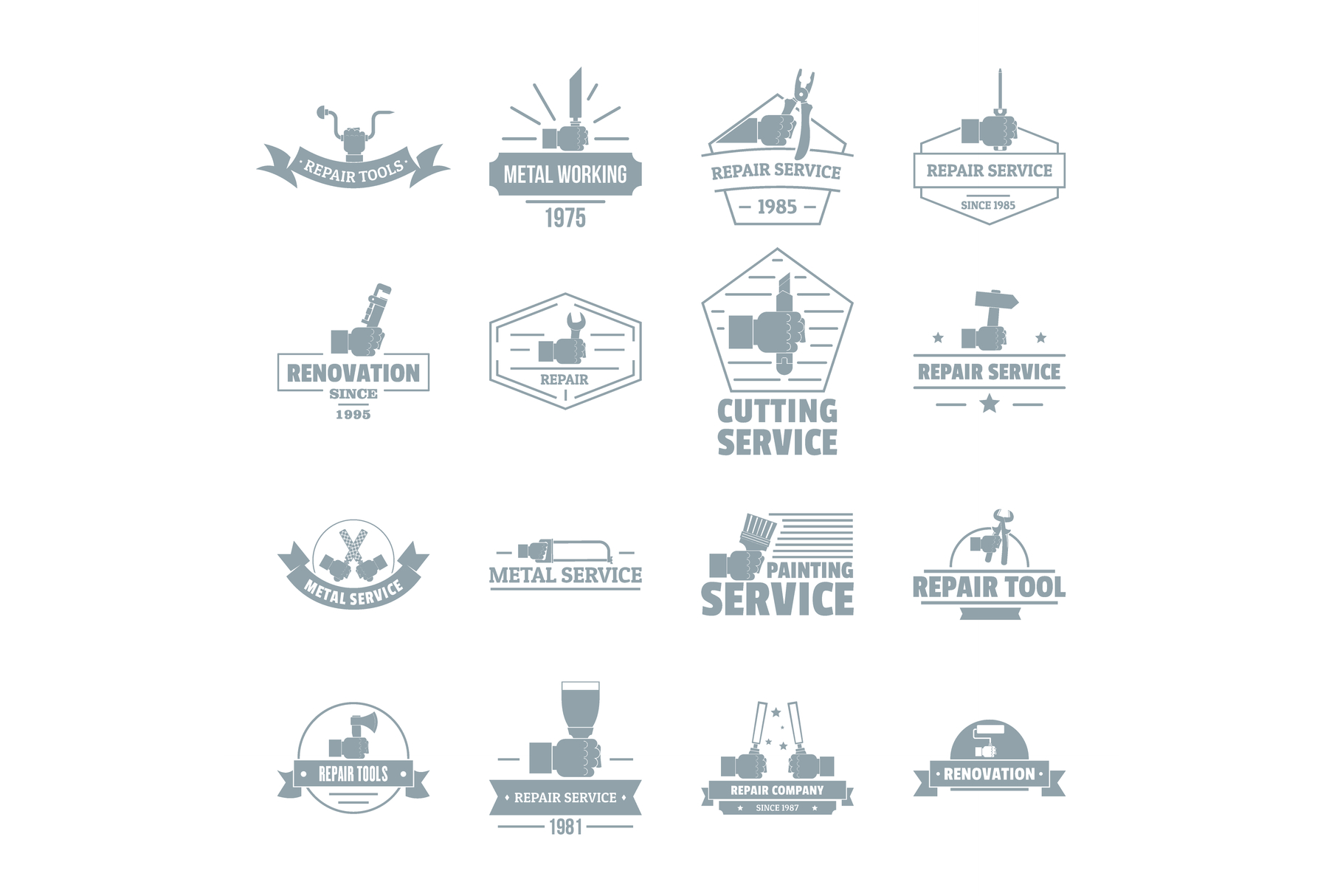 Hand tool logo icons set, simple style example image 1