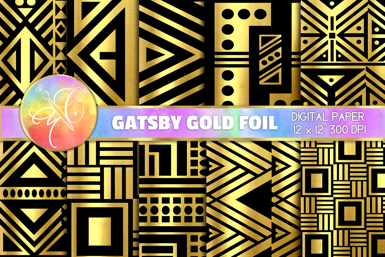 Art Deco Digital Paper, Gatsby, Black and Gold Backgrounds example image 1