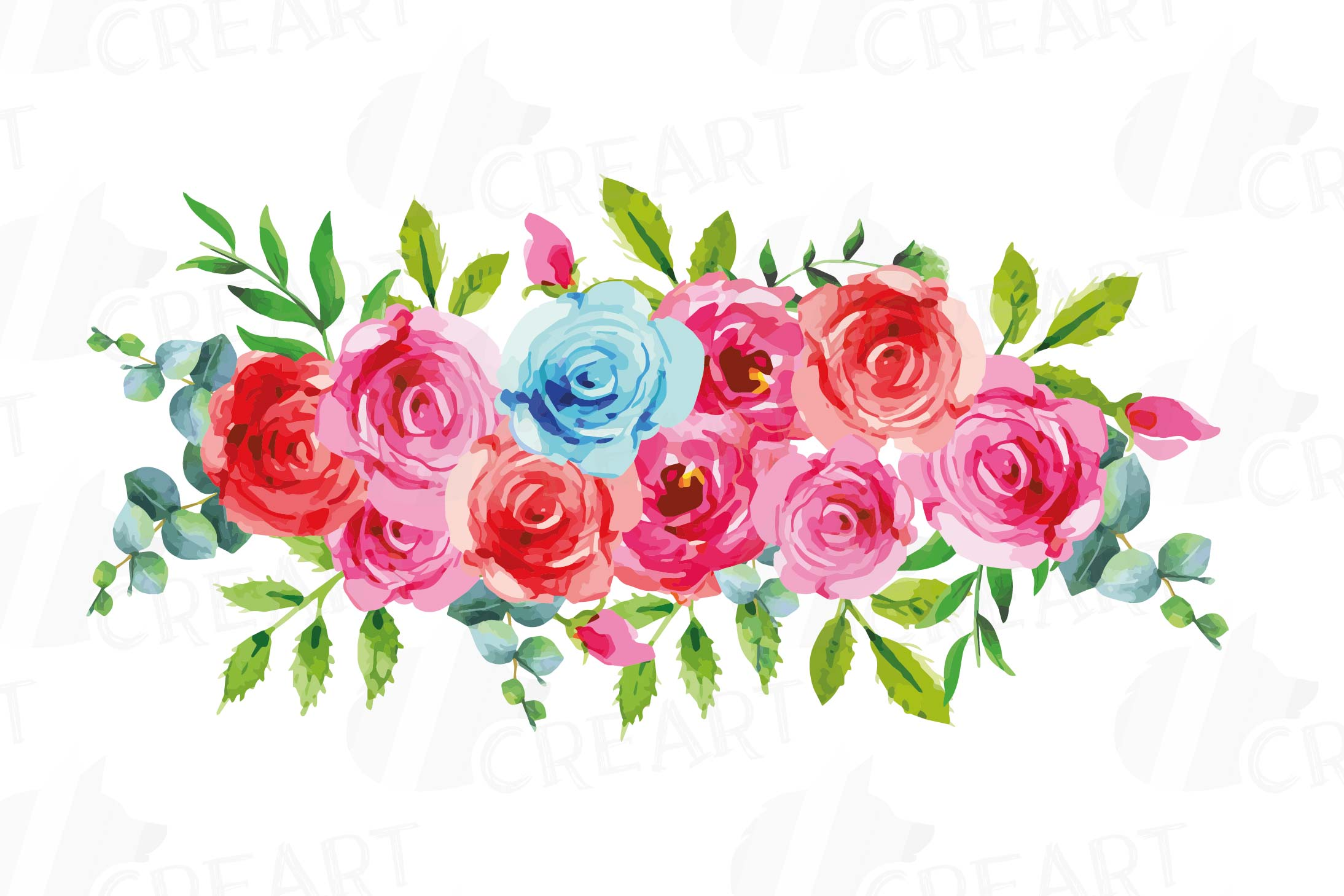 Boho pink and blue watercolor wedding bouquets, floral png example image 9