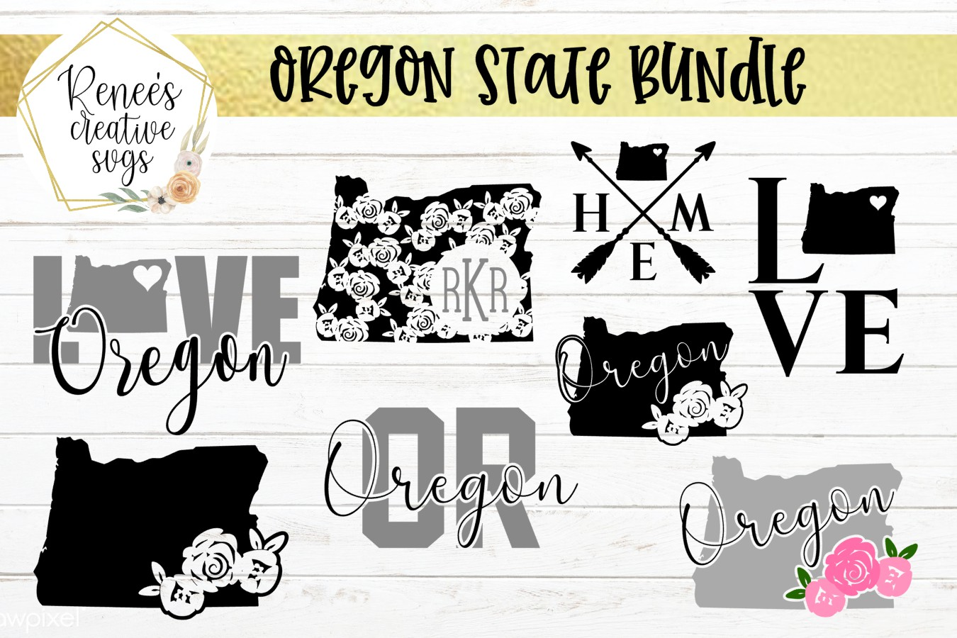 Oregon State Bundle  State Bundle SVG   SVG Cutting file example image 1