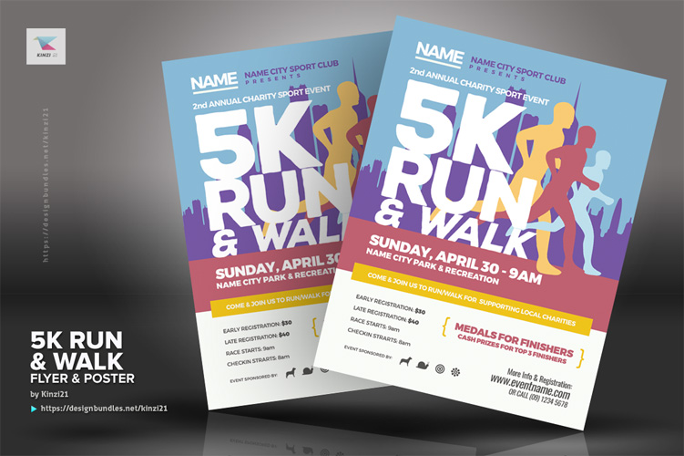 5K Run & Walk Flyer & Poster Templates example image 2