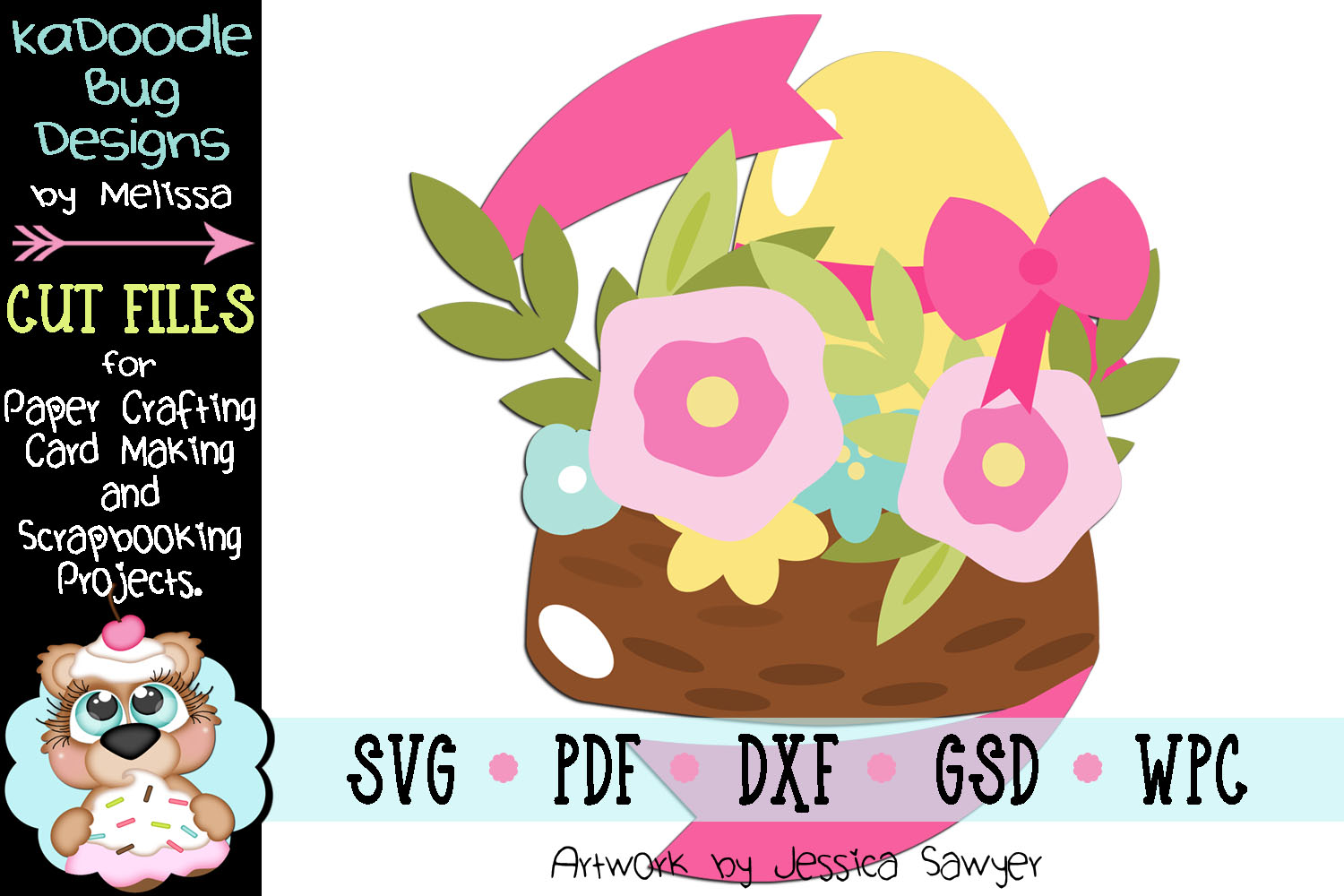 Spring Flower Bird Nest Cut File - SVG PDF DXF GSD WPC example image 1
