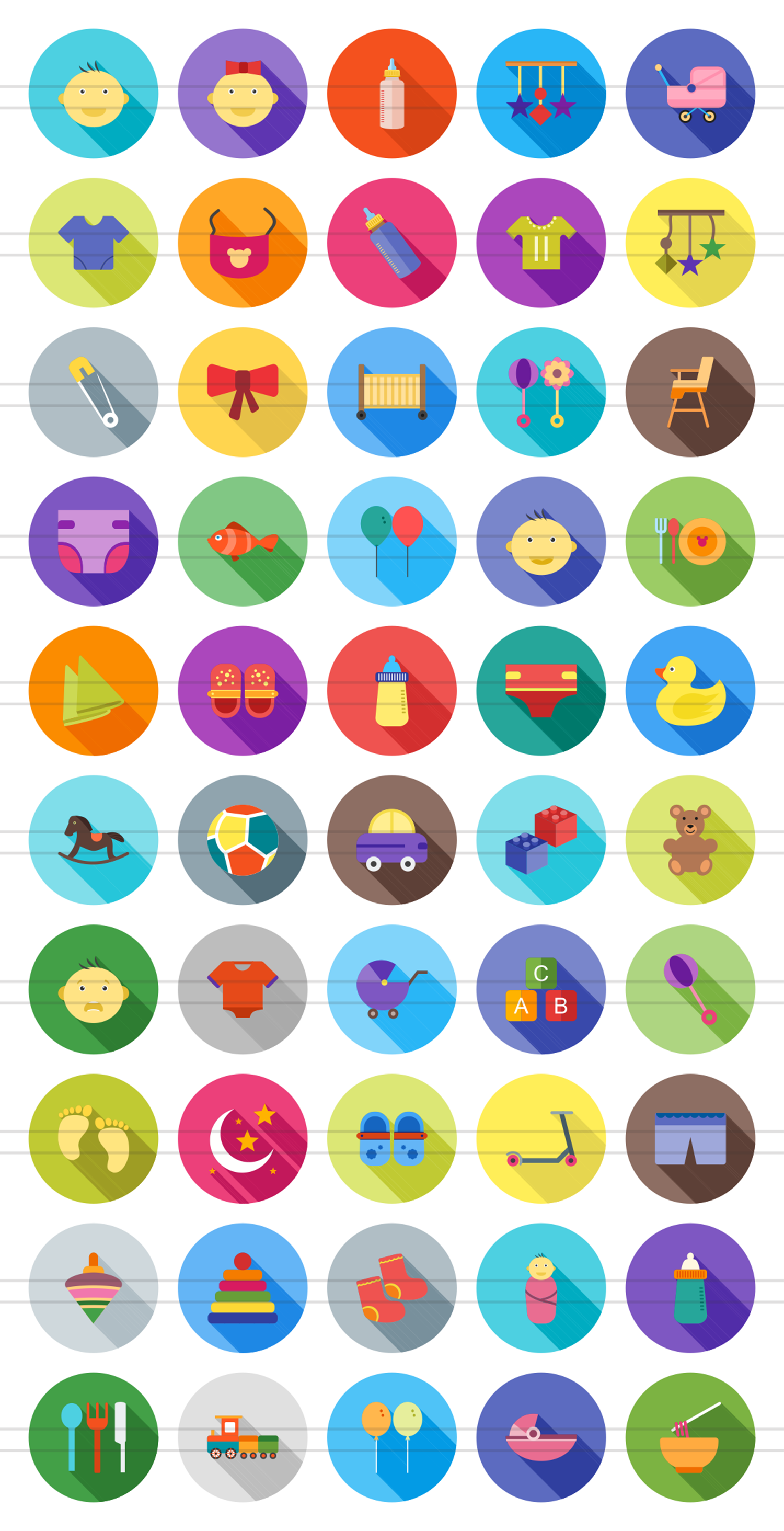 50 Baby Flat Long Shadow Icons example image 2