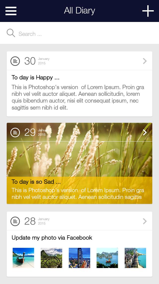 My Diary - UI Mobile Kit example image 4