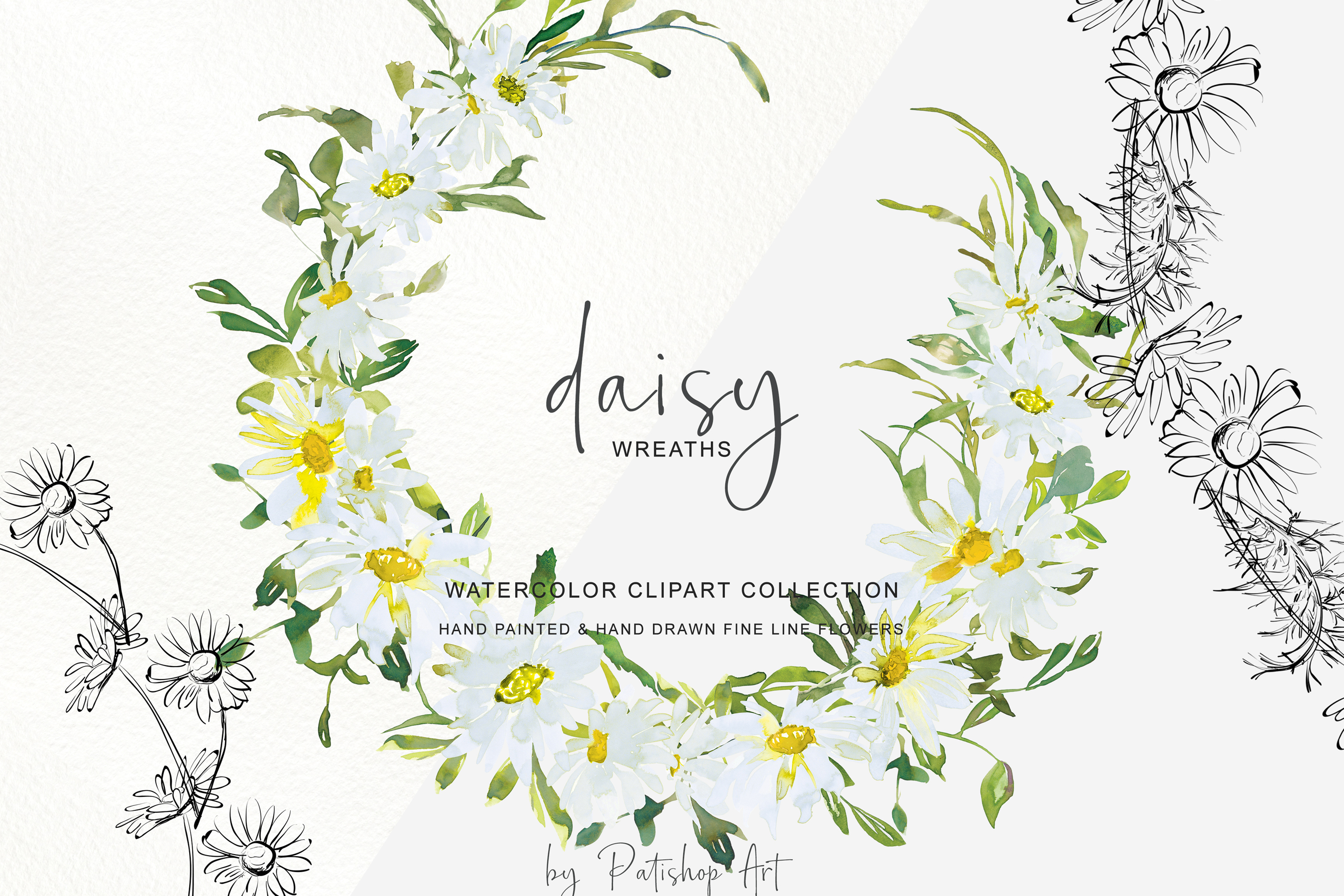 Watercolor Daisy Wreath Clip Art example image 2