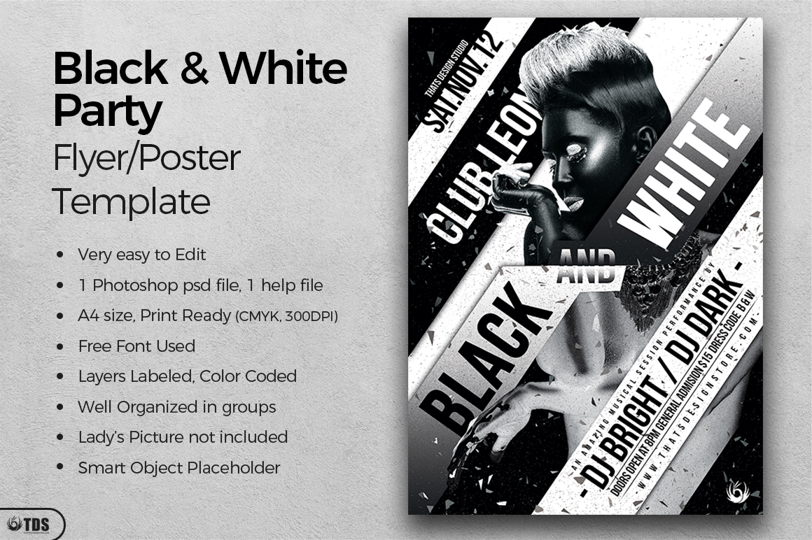 Black and White Party Flyer Template example image 2