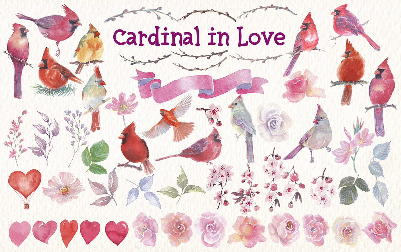 watercolor Cardinal in love clip art example image 4