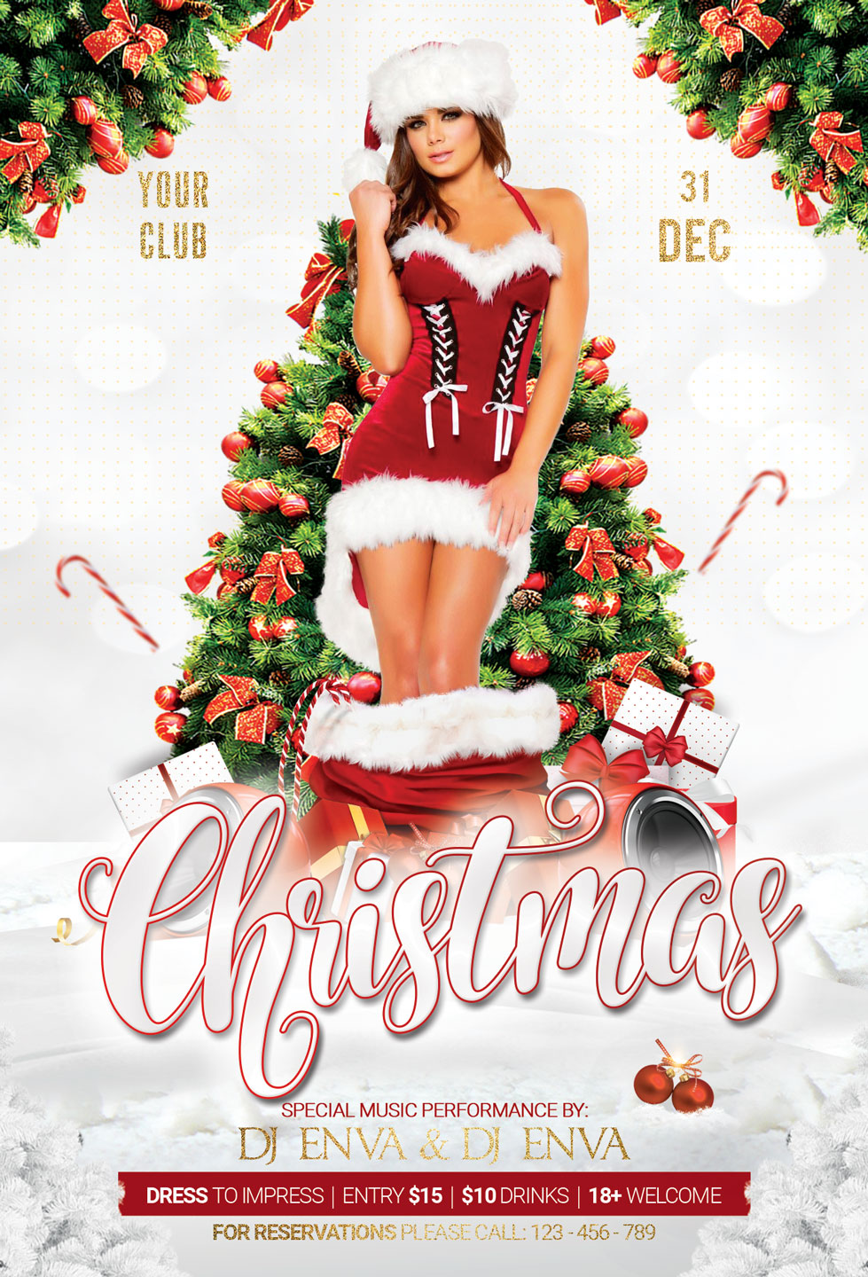 Christmas New Year Party Flyer example image 3