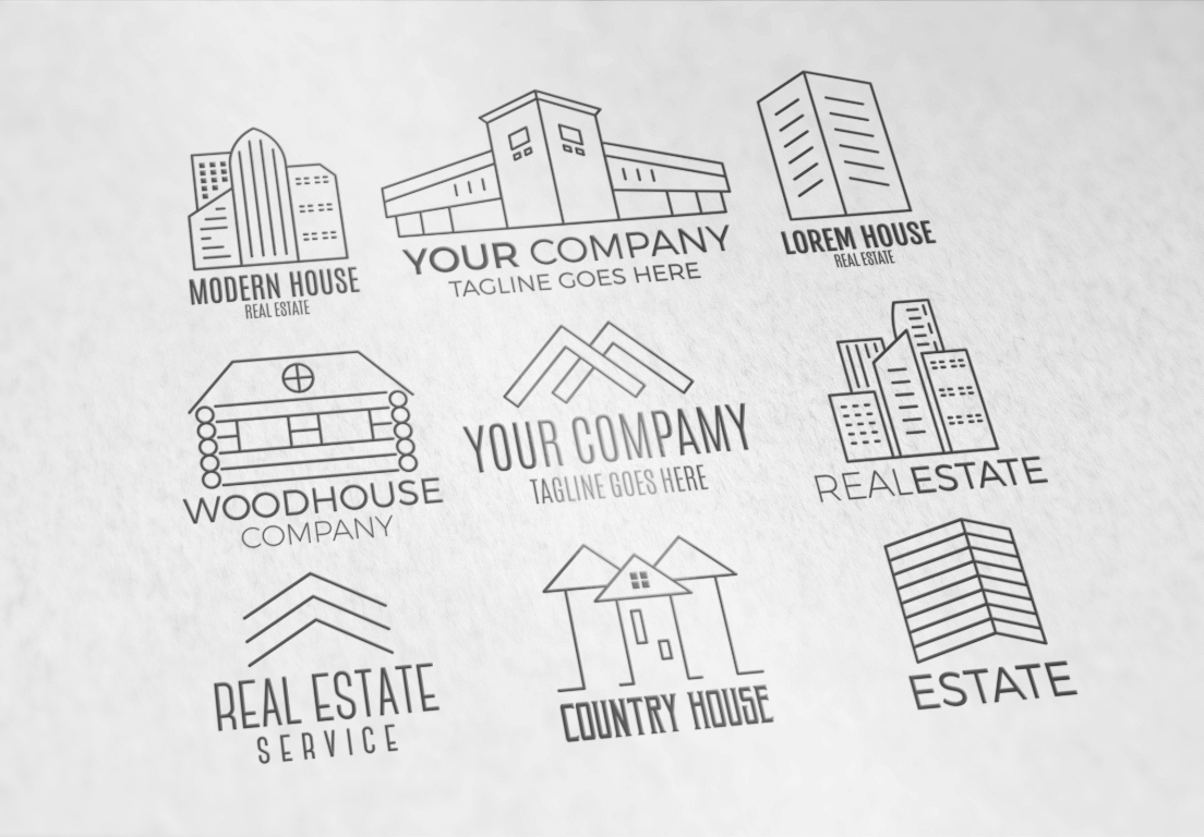 Real Estate Logo Set. LineArt example image 2