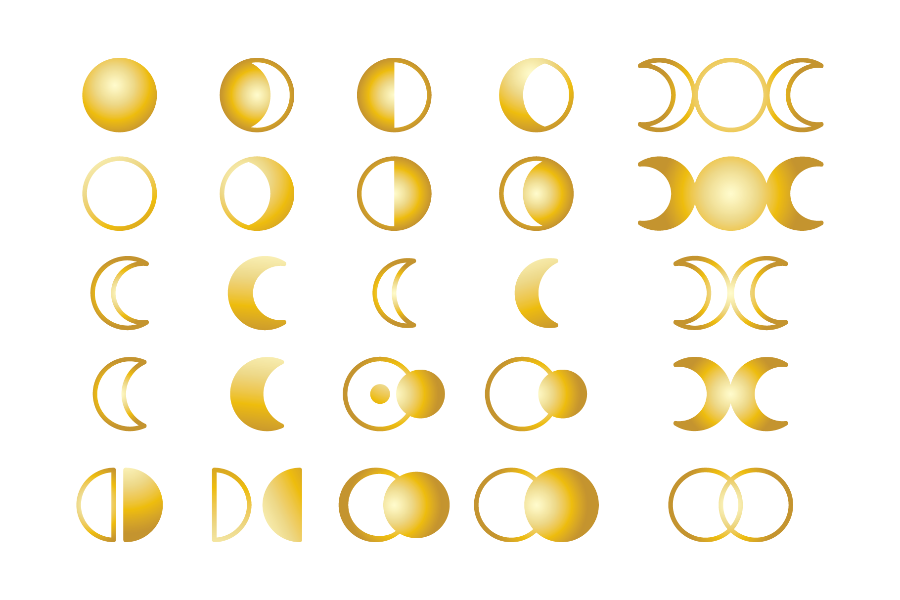 Moon Cycle Icons Clip Art Set example image 4
