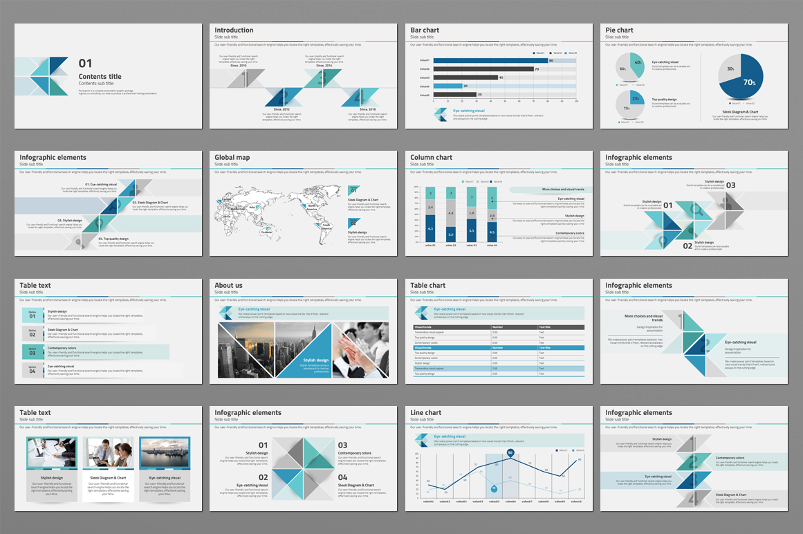 Triangle Pattern PPT Template example image 4
