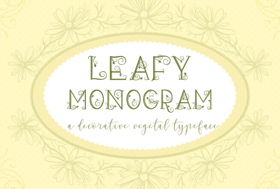 Leafy Monogram Font & Alphabet example image 1