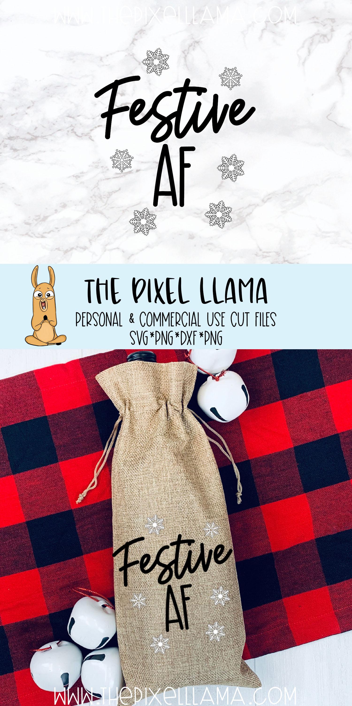 Festive AF Christmas Wine Bag SVG example image 2