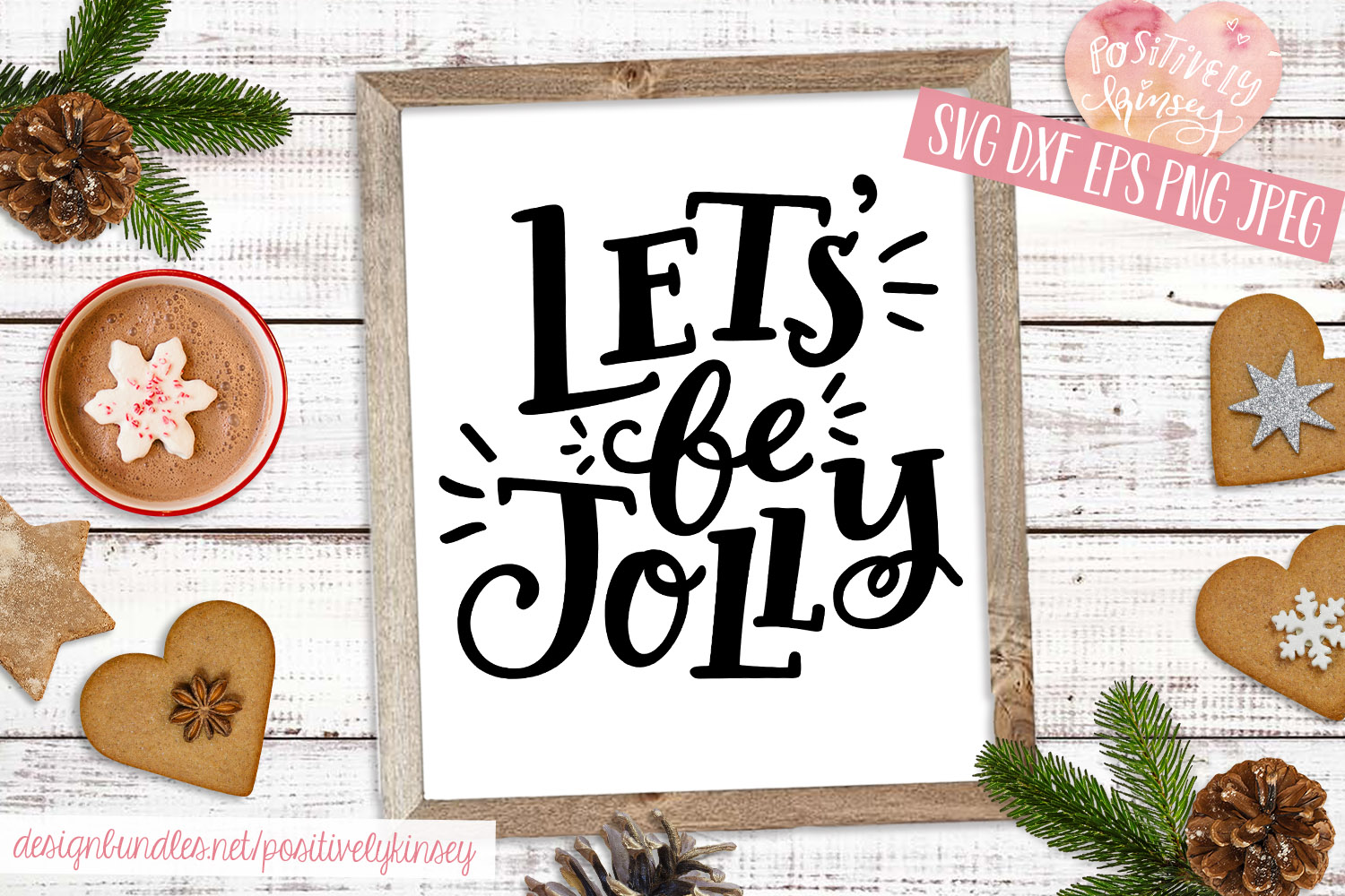 Christmas Quote SVG DXF PNG EPS Let's Be Jolly SVG Design example image 3