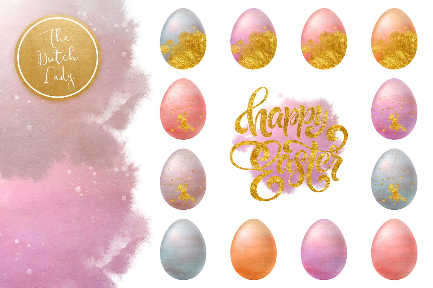 Sparkly Easter Eggs Clipart Set example image 4