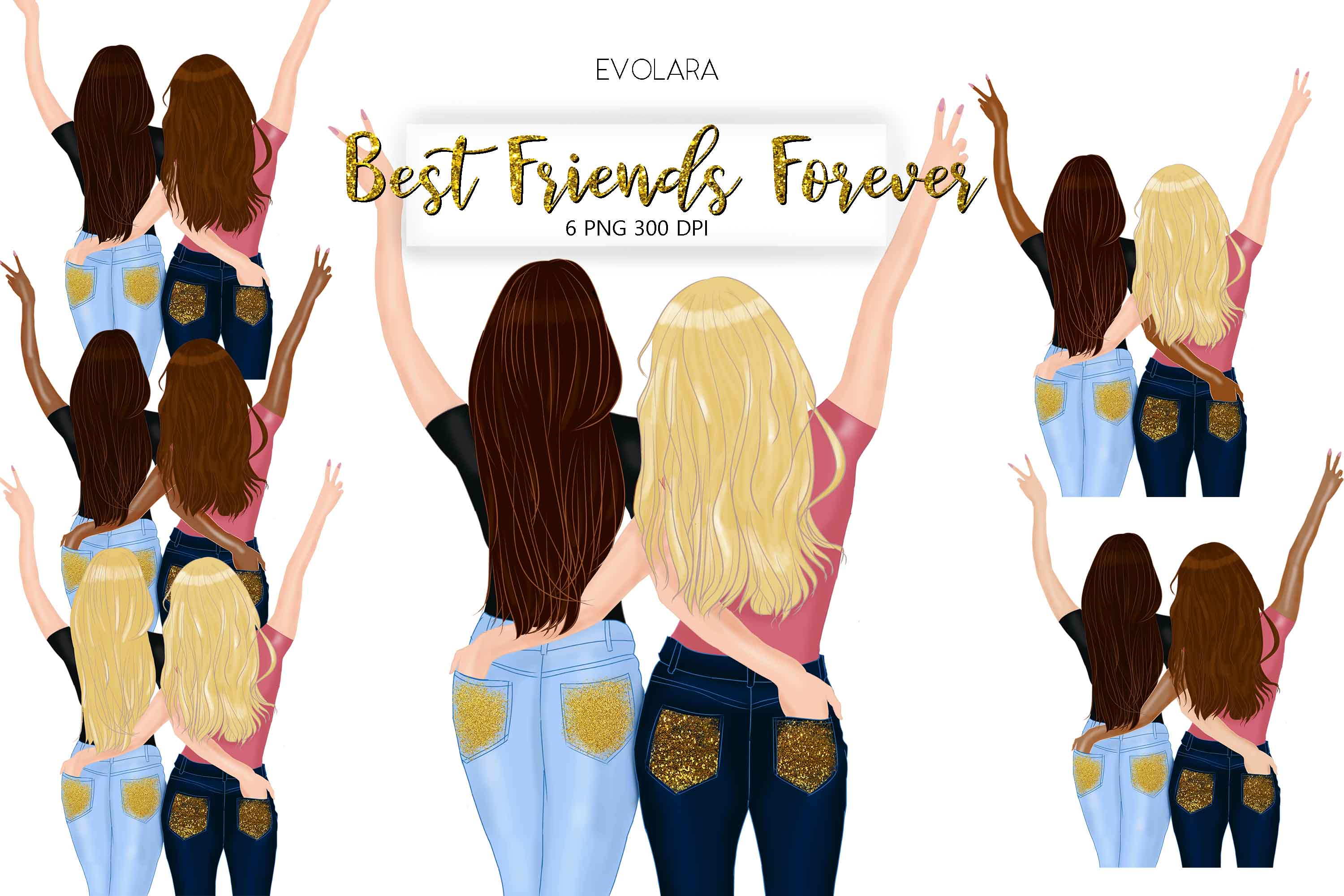Best Friends Clipart Besties Clipart Friends Clipart BFF example image 1