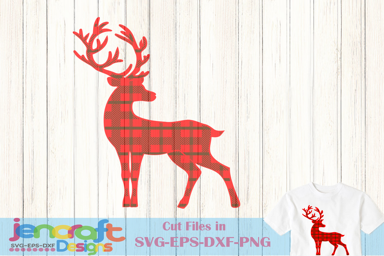 Plaid Reindeer SVG - Christmas Deer SVG Buffalo Plaid example image 1