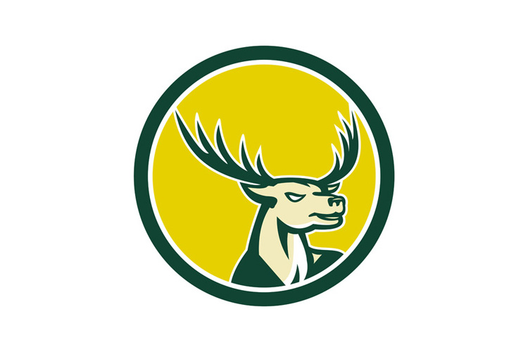 Deer Stag Buck Head Circle Retro example image 1