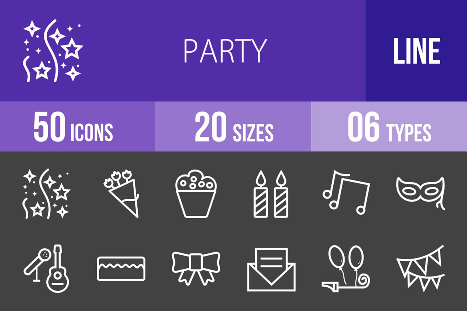 50 Party Line Inverted Icons example image 1