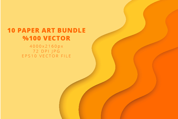 10 Paper Art Design Bundle - Backgrounds - Jpg and Vector example image 8
