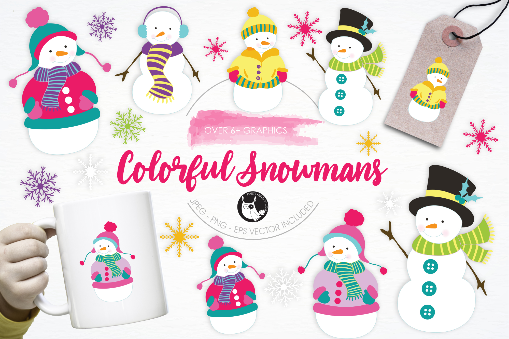 Colorful Snowmans graphics and illustrations example image 1