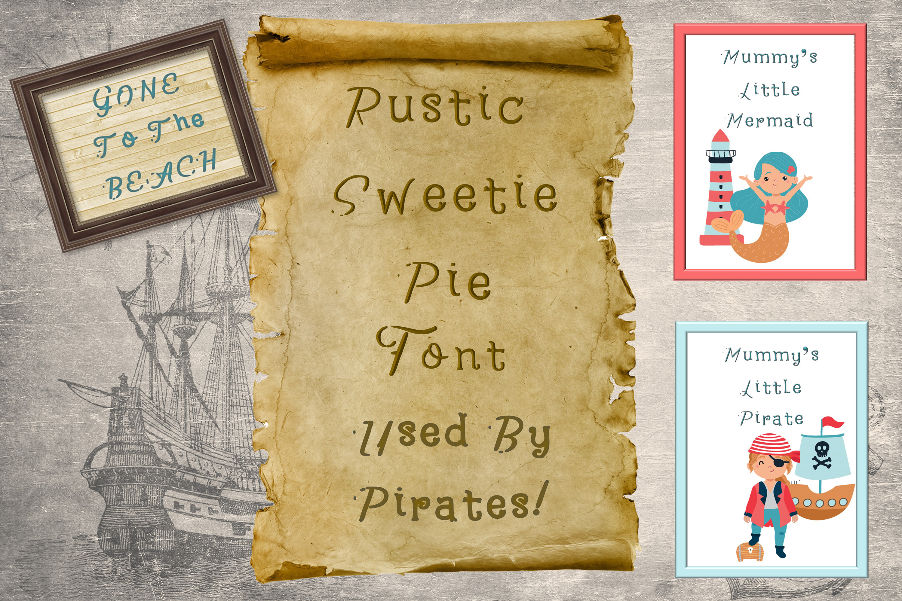 Rustic Sweetie Pirates Font. example image 1