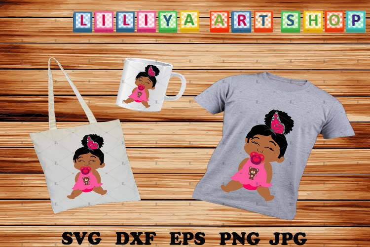 Afro Baby with pacifier Svg,Girl Svg,Baby with buterfly svg example image 1
