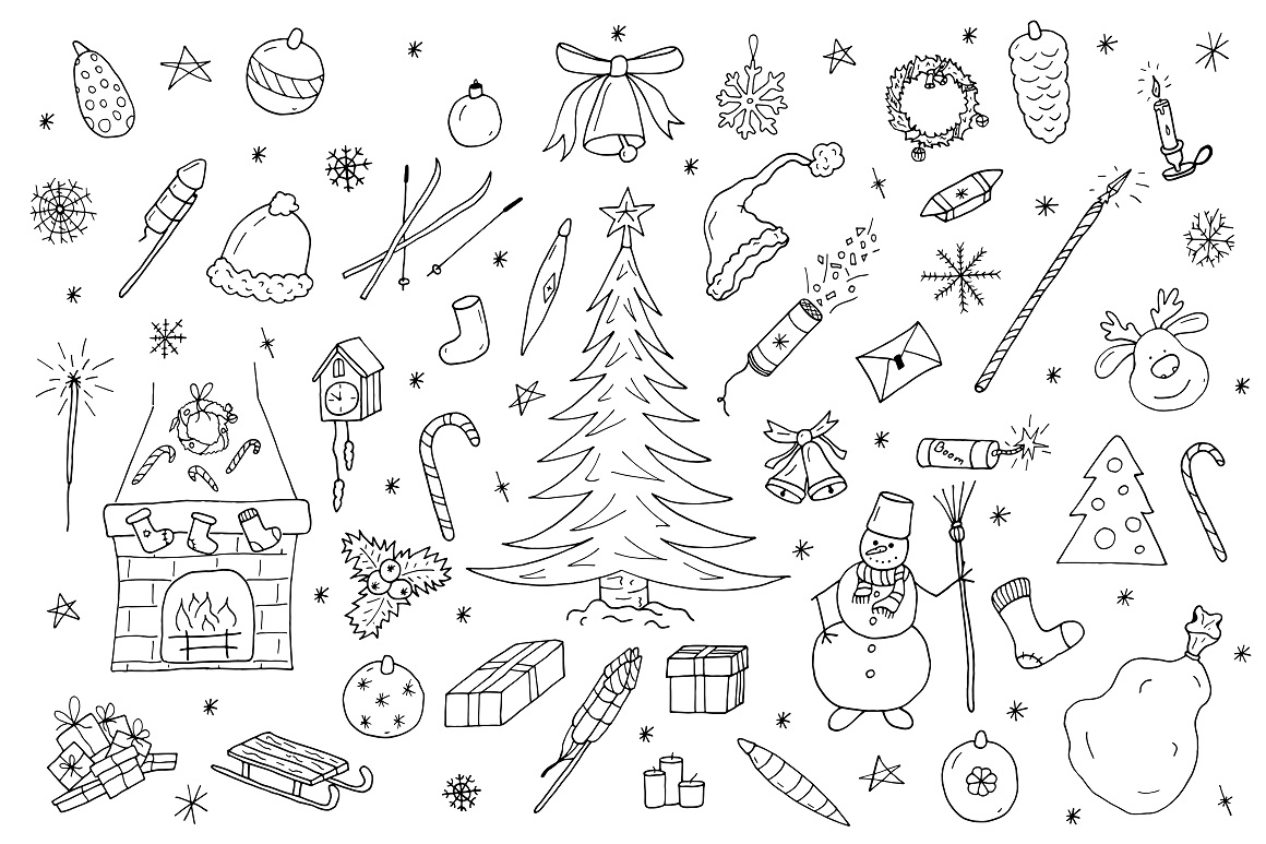 Hand drawn christmas elements set. example image 6