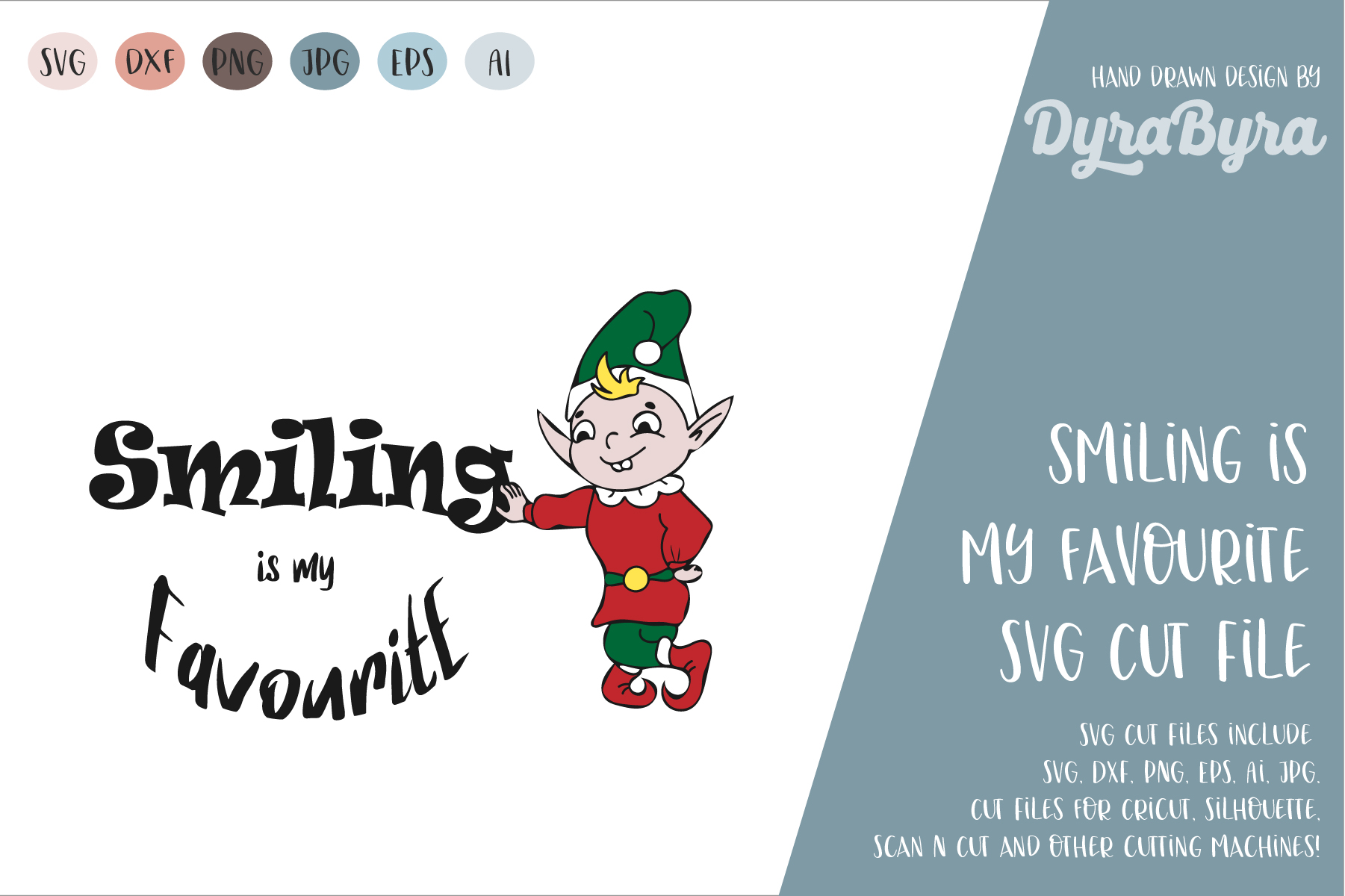 Smiling is my Favourite SVG / Elf SVG / Christmas SVG example image 2