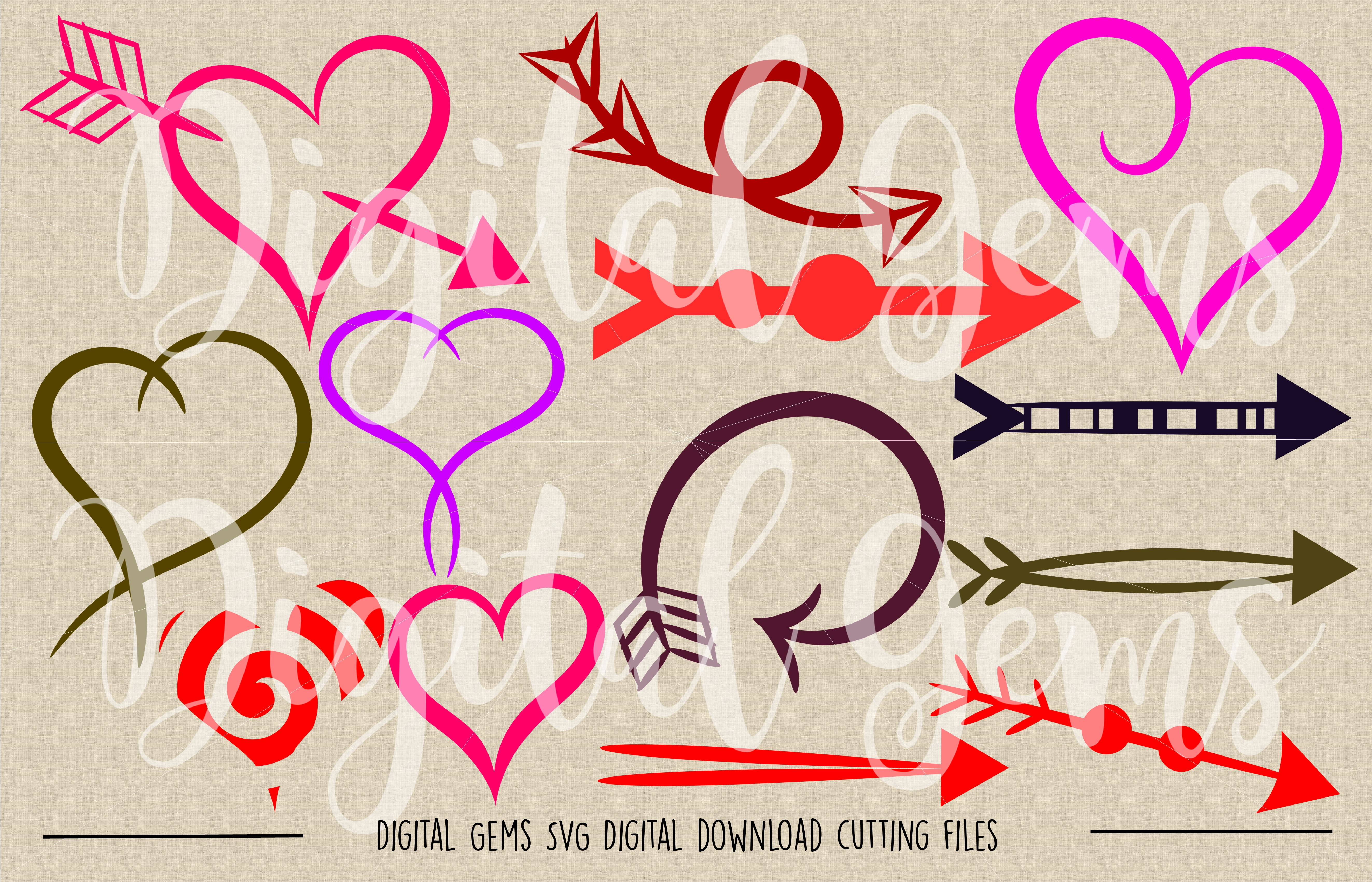 Hearts and arrows SVG / PNG / EPS / DXF Files example image 2