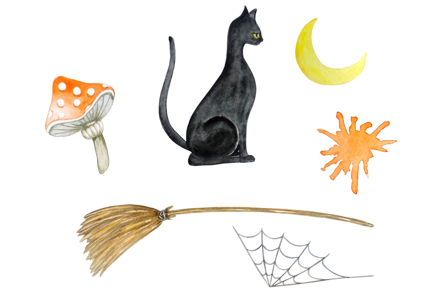 Halloween watercolor clipart example image 5
