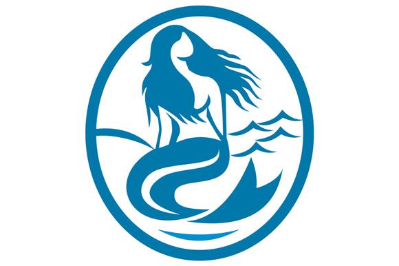 Mermaid Siren Sitting Singing Oval Retro example image 1