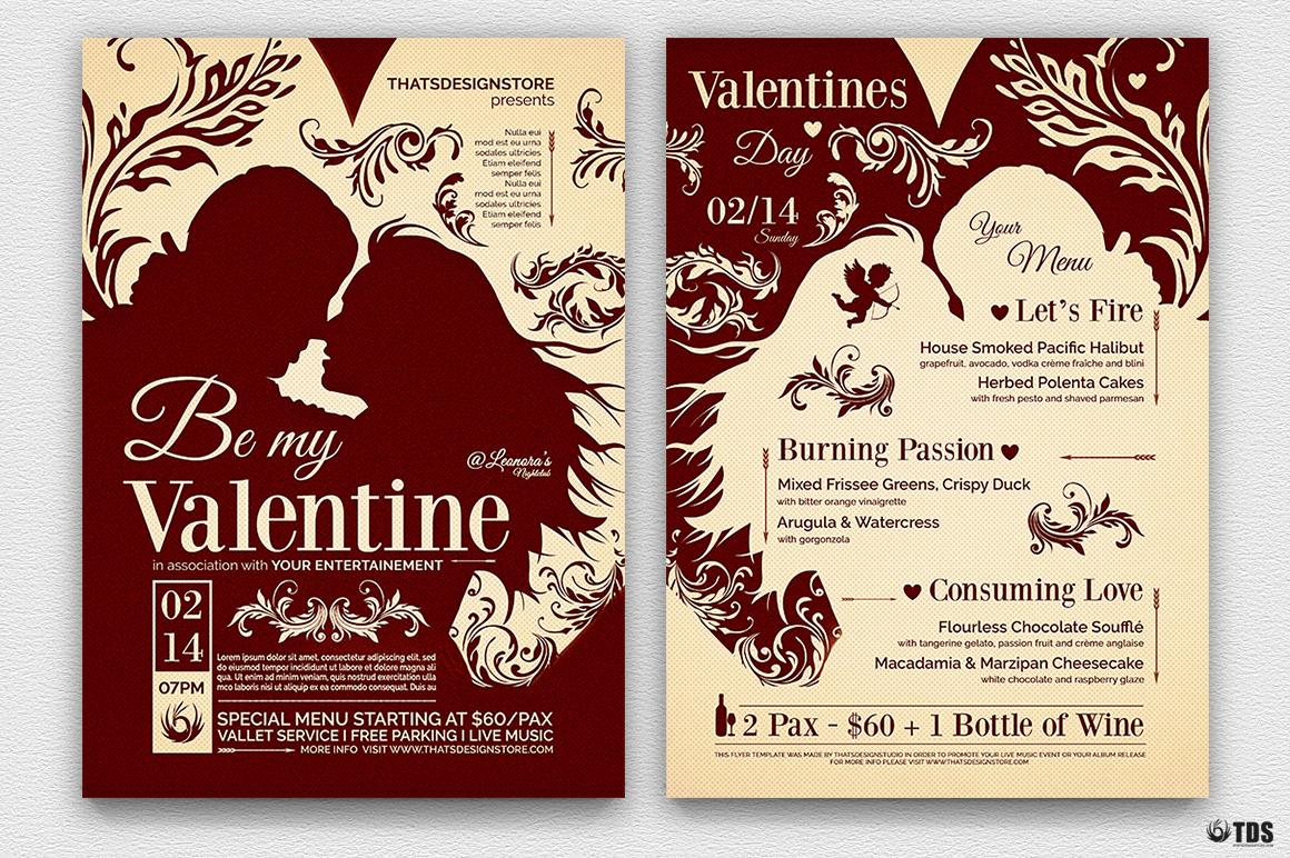 Valentines Day Flyer + Menu Bundle V6 example image 2