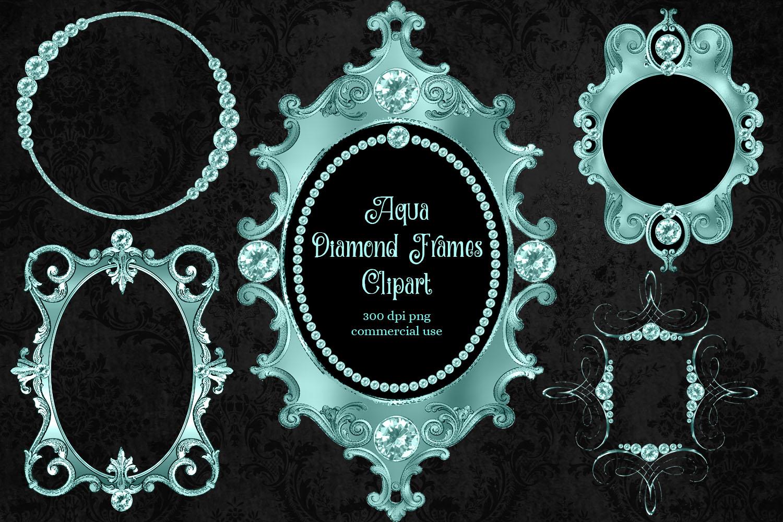 Aqua Diamond Frames Clipart example image 1