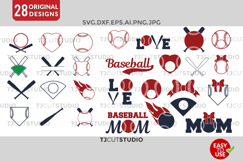 Baseball svg Baseball Monogram Frames Svg Softball SVG Baseball Frames Svg, Files for Silhouette Cameo or Cricut, Commercial & Personal Use. example image 1